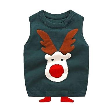 320ea31497da Baby Boy Girl Cartoon Christmas Elk Print Pullover Sleeveless Round ...