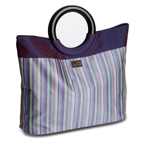 della Q Lena Knitting Bag (14.5'' L x 10'' H x 4'' W); 018 Purple Stripes 305-1-018 by della Q