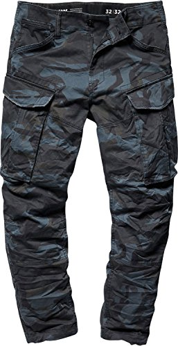 Raw Cargo - G-Star Raw Mens Rovic 3D Straight Tapered Cargo Pants, Size: 32W x 34L, Color Asfalt/Black Ao