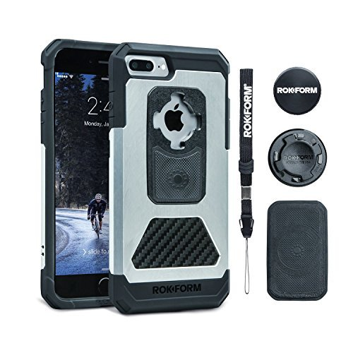 Rokform iPhone 8 & 7 PLUS Fuzion Pro Series Aluminum & Carbon Fiber Rugged Magnetic Phone case with twist lock & universal magnetic car mount (Natural) by Rokform