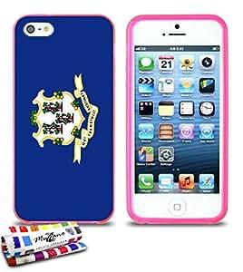 Carcasa Flexible Ultra-Slim APPLE IPHONE 5 de exclusivo motivo [Connecticut Bandera] [Rosa] de MUZZANO  + ESTILETE y PAÑO MUZZANO REGALADOS - La Protección Antigolpes ULTIMA, ELEGANTE Y DURADERA para su APPLE IPHONE 5