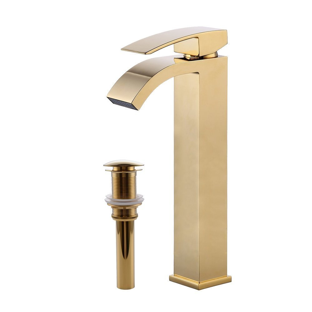 Wovier Gold Polished Waterfall Bathroom Sink Faucet Drain,Single Handle Single Hole Vessel Lavatory Faucet,Basin Mixer Tap Tall Body