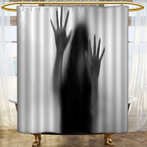 AmaPark Shower Curtain with Hooks Silhouette of Woman behind the Veil Scared to Death Obscured Paranormal Gray Water-Repellent Antibacterial 72 x 92 inches by AmaPark