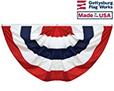 3×6′ Pleated Fan Bunting 5 Stripes, Patriotic Semi Circle, Made In USA