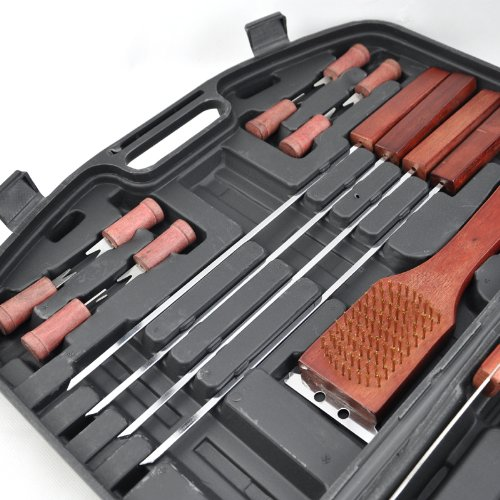 Topro Bamboo Handles Outdoor stainless Stain BBQ Carrying Case Tool Set Pack of 18pcs by Topro (Image #2)