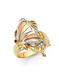 Paradise Jewelers 14K Solid Gold Brilliant Tri-Color Cubic Zirconia Fancy Butterfly Ring