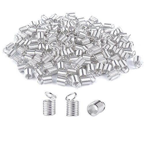 BronaGrand 150pcs Antiqued Brass Silvery Crimp Fasteners Leather Cord Ends Caps Necklace Clasp Jewelry Parts (Leather End Caps)