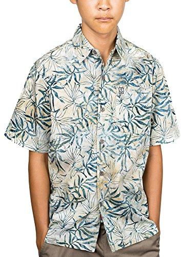 Artisan Outfitters Kids Oasis Tropical Hawaiian Batik Cotton Shirt (14, Tropic Green) A0214-206B-14