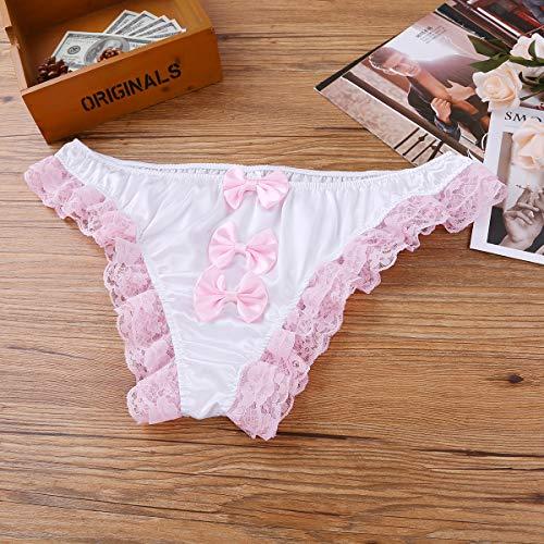 Alvivi Mens Sissy Satin Ruffles Lace Bowknot Bikini Briefs French Maid Girly Panties Underwear