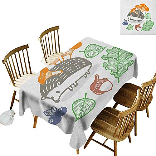 kangkaishi Iron-Free Anti-fouling Holiday Long Tablecloth Table decorationColorful Hedgehog with Various Edible Items Mushrooms Nuts and Leaves Animal Diet W14 x L108 Inch ()