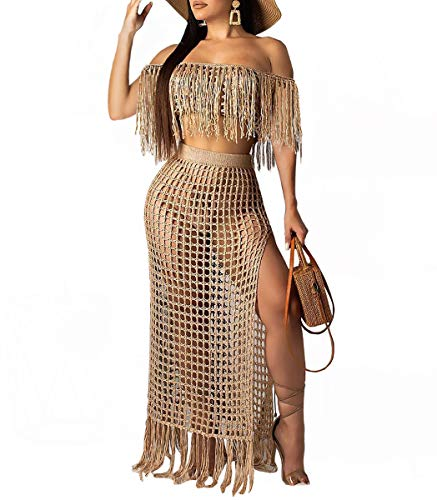 Womens Sexy Two Piece Clubwear - Off The Shoulder Sleeveless Tanks + Slit Sheer Lace Beach Overlays Sundress Brown#3 M