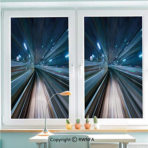 RWNFA Window Film Door Sticker Motion Blur of City and Tunnel Moving Monorail in Tokyo Futuristic Transportation Glass Film Both Suitable for Home and Office,22.8 x 35.4inch,Dark Blue Tan (Best Sights In Tokyo)