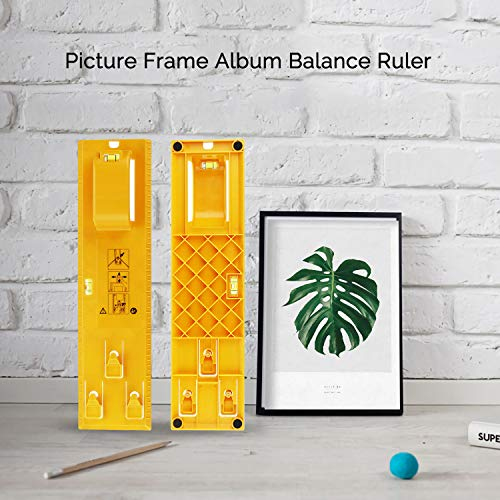 Picture Frame Hanging Kit, Portable Picture Frame Level Ruler, Multifunction Picture Frame Hanger Tool Ruler Bubble Level Measuring Tool Suitable for All Wall Materials Picture Frame