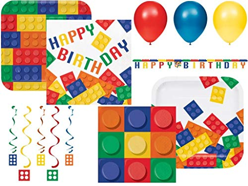 Building Blocks Color Brick Themed Birthday Party Supplies Kit- Disposible Tableware for 24 Guests- Danglers, Banner and Balloon Decorations