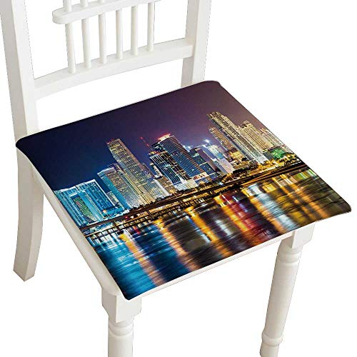 (Indoor/Outdoor All Weather Chair Pads Downtown Miami Night City Seat Cushions Garden Patio Home Chair Cushions 28