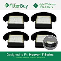 4 - Hoover WindTunnel T-Series Rewind HEPA Cartridge Filters, Part #s 303172001, 303172002. Designed by FilterBuy to fit ALL Hoover WindTunnel T-Series Upright Vacuum Cleaners