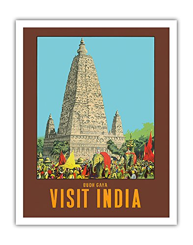 - Pacifica Island Art Visit India - Bodh Gaya - Mahabodhi Temple - Bihar, India - Vintage World Travel Poster by W. S. Bylityllis c.1950s - Fine Art Print - 11in x 14in