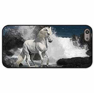 iPhone 5 5S Black Hardshell Case horse spray rocks sea Desin Images Protector Back Cover