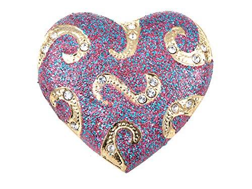 Alilang Crystal Rhinestone Valentine Heart Love Brooch Pin, Pink ()
