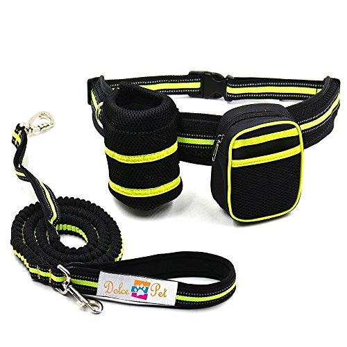 Hands Free Waist Dog Leash: Reflective Retractable Dog Bungee Leash with Bottle & Bag Holder | Waterproof Adjustable Waist Belt | Shock-Absorbing Small & Large Dog Walking Hiking Running Jogging Leash by Dolce Pet Products