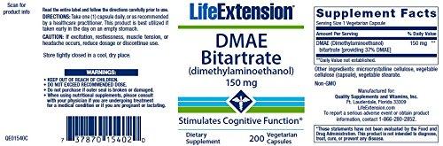 Life Extension DMAE Bitartrate (dimethylaminoethanol) 150 mg, 200 Vegetarian Capsules