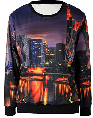 Thenice - Sudadera - Animal Print - Manga Larga - para mujer City sunsets