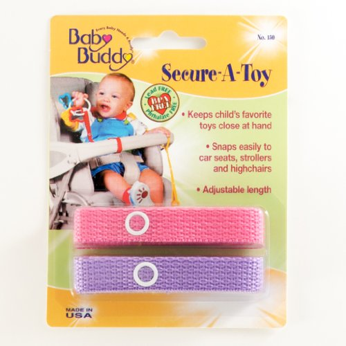 Baby Buddy Secure-A-Toy - Straps Toys, Teether, or Pacifiers to Strollers, Highchairs, Car Seats— Safety Leash With Adjustable Length to Keep Toys Sanitary & Clean, Pink/Lilac 2 (Plastic Carriage Light)