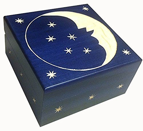 Crescent Moon and Stars Wooden Jewelry (Crescent Moon Jewelry Box)