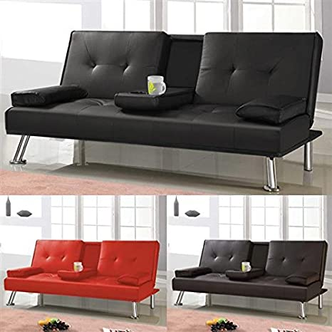 Yaheetech 3-Seat Faux Sofa Bed Sleeper Sofa Leather Folding Sofa Bed With Cup Holders,Brown