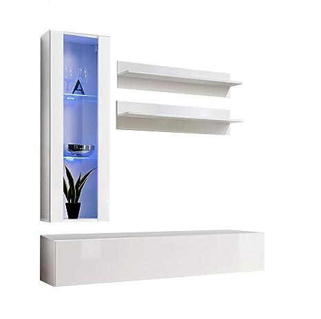 Conjunto Muebles de salón Nora Blanco Modelo H2 con LED ...
