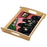 Home of Affenpinschers 4 Dogs Playing Poker Wood Serving Tray with Handles Natural