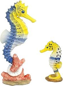 Amakunft 2-Pack Seahorse Fish Tank Decoration, Resin Aquarium Figure Ornament