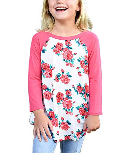 Blibea Girls Kids 2018 Fashion Casual Floral Shirts 3/4 Sleeve Pullover Tops Blouse Size 4 5 Pink-Print - Floral Girls Pullover