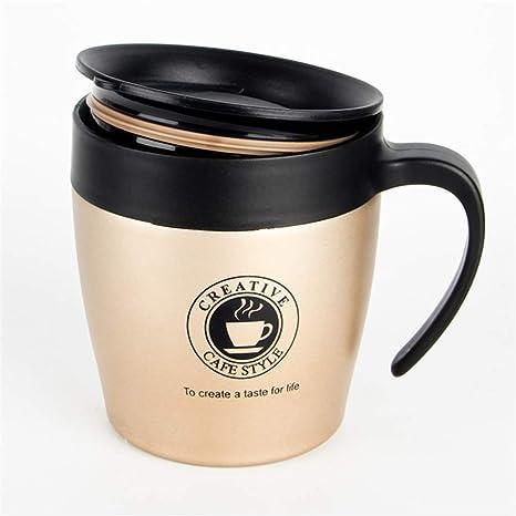 Taza de café de acero inoxidable con asa, 500 ml, taza de ...