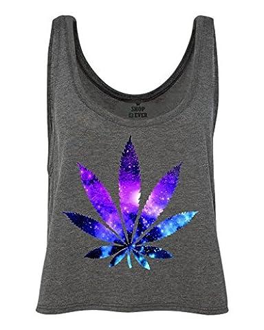 Shop4Ever Marijuana Leaf Galaxy Boxy Tank Top Weed Smoker Tank Tops Small Dark Grey Heather0 (Hippie Acc)