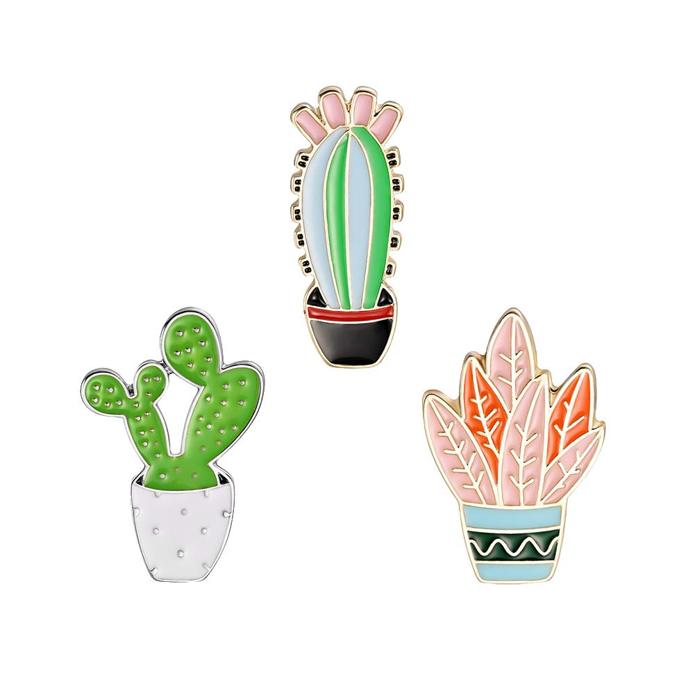 ink2055 3Pcs/Set Cartoon Cactus Plant Enamel Badge Brooch Pin Badge for Clothes Brooches Jewelry Decor - Multicolor