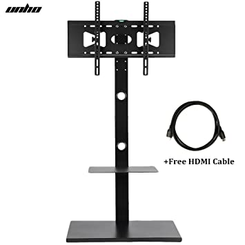 UNHO Swivel TV Floor Stand And Mount With Two Shelves U0026 Free Cable For 32