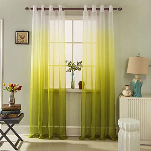 Green Single Transparent Rod - GYROHOME Gradient Color Tulle Voile Sheer Curtains Home Decorations for Bedroom, Living Room Energy Saving Privacy Protection, Sold in Pair, W52xL84
