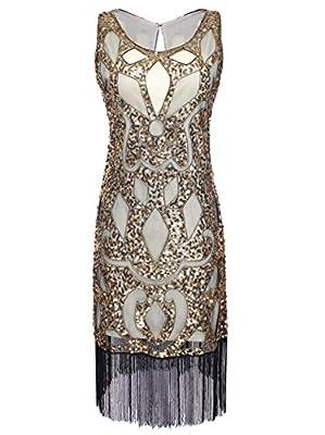 Vijiv Women's 1920S Sequined Beaded Embellishment Art Deco Paisley Flapper Dress