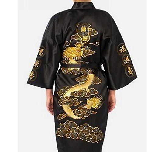 NERO DA Uomo Abbigliamento Notte Giapponese Dragon Ricamato Abito sera Tradizionale Pigiami Kimono Misura 1 Adulti con Dorato Ricamo Takashi Idea Regalo per tutte le occasioni TAKASHI JAPAN