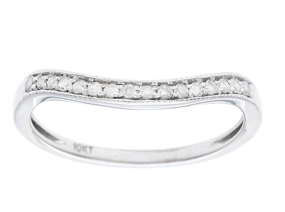 Instagems 10k White Gold Curved Diamond Wedding Band Guard (1/8 cttw, I-J Color, I2-I3 Clarity)