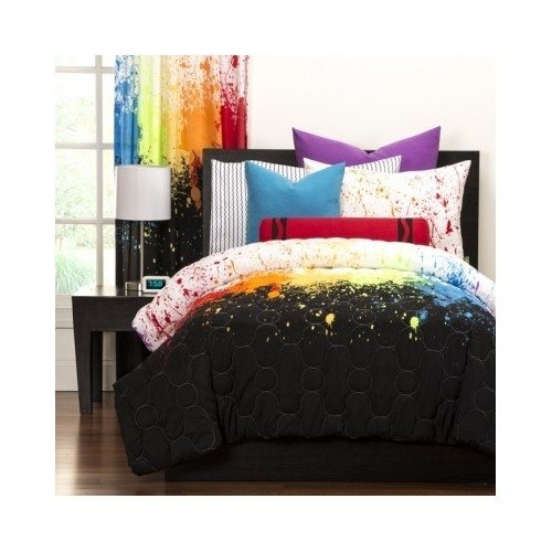 Reversible Teen Kids Crayola Colorful Cosmic Burst 3-piece Comforter Includes Custom Mouse Pad (Full/queen