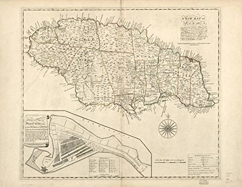 Wall Art Print entitled Vintage Map Of Jamaica (1771) 2 by Alleycatshirts @Zazzle | 10 x (Jamaica Map)
