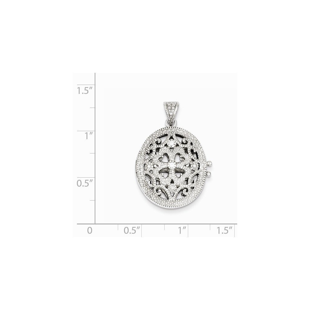 Sterling Silver CZ Locket 1.18 in x 0.79 in