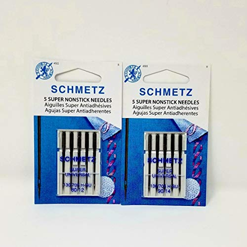 SCHMETZ Super NONSTICK Needles (5 Needles per Package) ~ Includes 1 Pack of Each Size 80/12 & 90/14