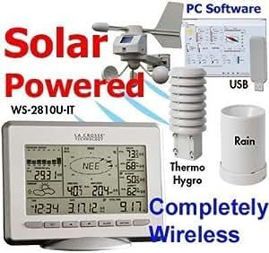 La Crosse Technology WS-2810U-IT Professional Wireless Weather Station Center - Solar Powered Wind Sensor - Connects to Windows XP Vista 7 -