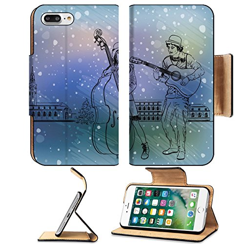 [Luxlady Premium Apple iPhone 7 Plus Flip Pu Leather Wallet Case iPhone7 Plus 34459894 Christmas street performers in a snowy city] (Homemade Plant Costumes)