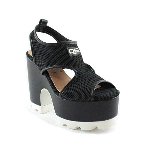 06 Milano Sandalo Rete Nero Tacco Grosso carrarmato: Amazon