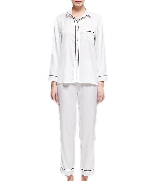 QPALZM Mujer De Lujo Pijamas De Seda Cómodos Dos Conjuntos De Solapa En Forma De V