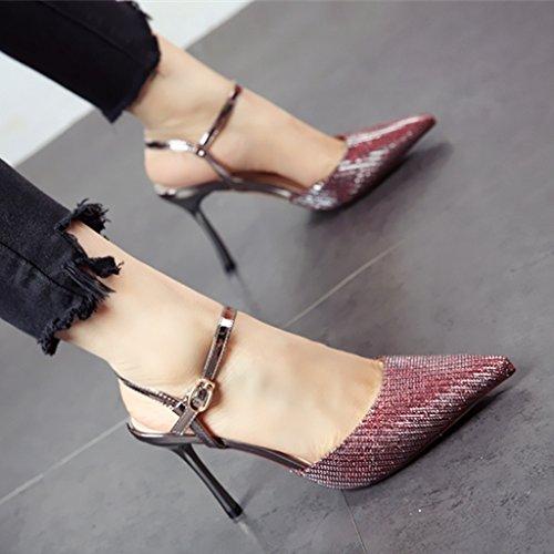 con estate gules e sharp tacco stile elegante con colleghe di tacco Onorevoli moda Europeo YMFIE scarpe sandali alta alta PASq0ngx